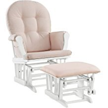 Windsor Glider and Ottoman White Finish and Pink Cushions Enclosed metal bearings Solid wood frames by Angel Line