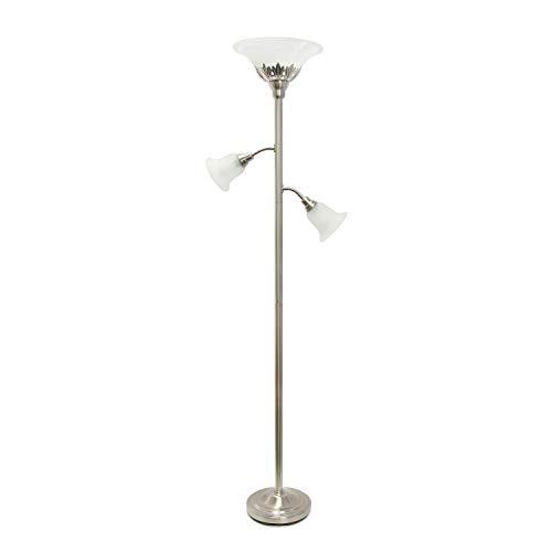 Elegant Designs LF2002-BSN 3 Light Scalloped Glass Shades Floor Lamp, Brushed Nickel/White (Tea Light Lamp With Shade)
