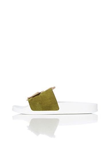 FIND Sandales Cygne à Bout Ouvert Femme Vert (Green/Nude) R4QqmMPg8