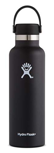 Hydro Flask 21 oz Water Bottle - Stainless Steel & Vacuum Insulated - Standard Mouth with Leak Proof Flex Cap - Black
