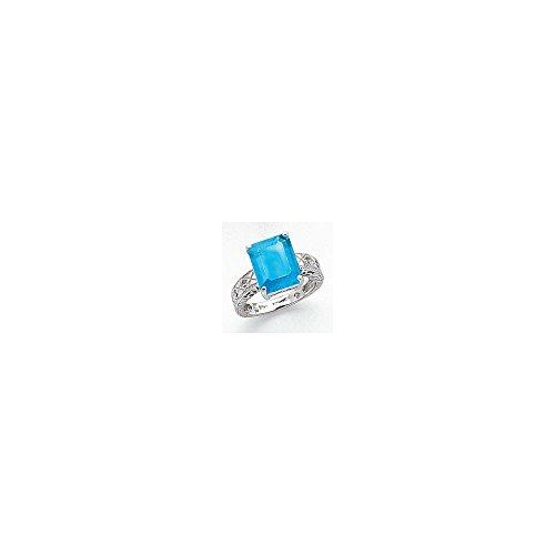 Mia Diamonds 14k White Gold 12x10mm Emerald Cut Blue Topaz AA Diamond Ring