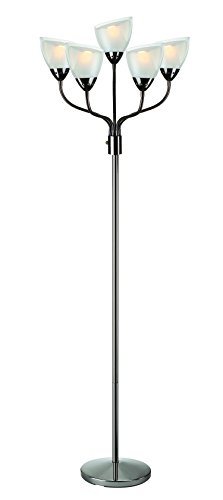 - Lite Source LS-82117 Elitia 5-Light Floor Lamp, Gun Metal