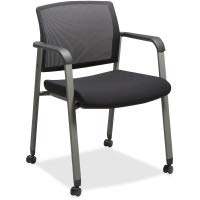 "Lorell Mesh Back Guest Chairs with Casters - Fabric Black Seat - Square Base - 18.75"" Seat Width x 18.38"" Seat Depth - 22.9"" Width x 22.6"" Depth x 32.1"" Height"