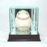 Single Baseball Glass Case (Glass Single Baseball Display Case with Cherry Wood Molding)