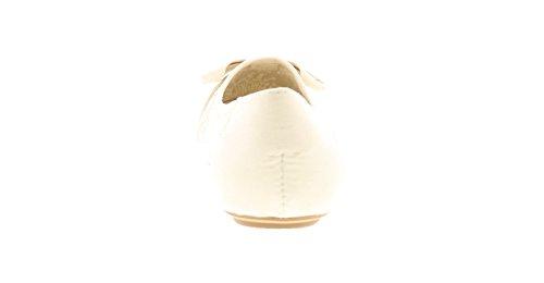 NUOVO donna / da donna Bianco BALLETTO stile da infilare scarpe - Bianco - NUMERI UK 3-9