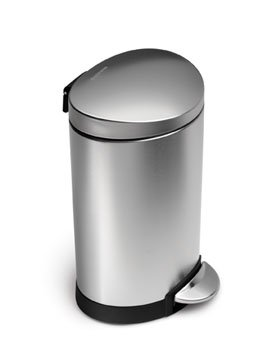 simplehuman 10 Liter/2.3 Gallon Stainless Steel Small Semi-Round Bathroom Step Trash Can, Brushed Stainless Steel -