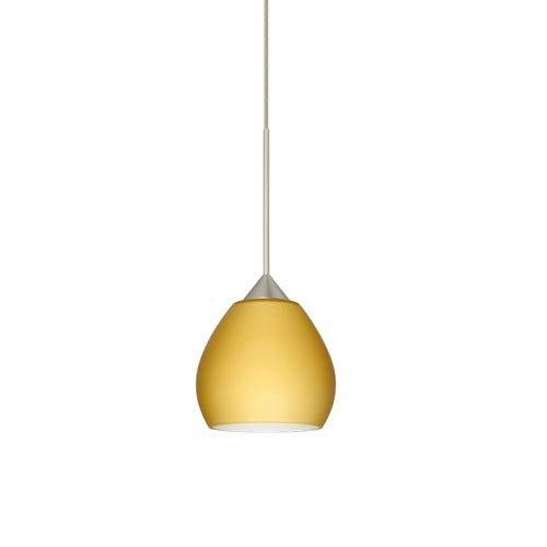 Besa Lighting 1XT-5605VM-SN Tay Tay Pendant with Vanilla Matte Glass, Satin Nickel Finish