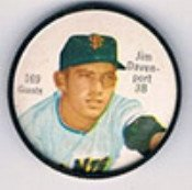 1962 salada tea coins (Baseball) Card# 169 jim davenport of the San Francisco Giants NrMt Condition