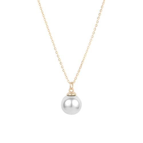Jeanne's Jewels Womens 925 Sterling Silver Lillian Freshwater Pearl Charm Necklace, Adjustable Size, Stackable (Yellow Gold)