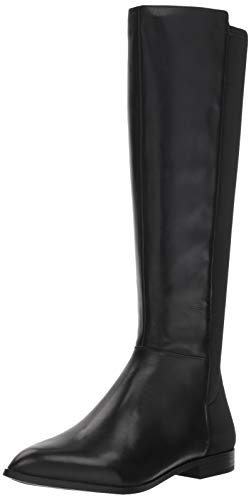 Nine West Women's OWENFORD Leather Knee High Boot, Black, 8.5 M US