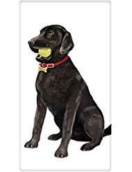 (Black Labrador Retreiver Lab Tennis Ball Dog Flour Sack Cotton Kitchen Dish Towel - 30