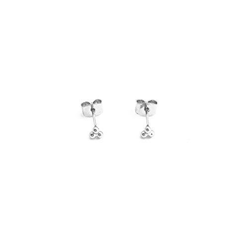 HONEYCAT Tiny Trinity Ball Stud Earrings in Silver (Rhodium Plated) | Minimalist, Delicate Jewelry (S)