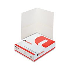 ** Two-Pocket Portfolio, Embossed Leather Grain Paper, White, 25/Box ** by 4COU