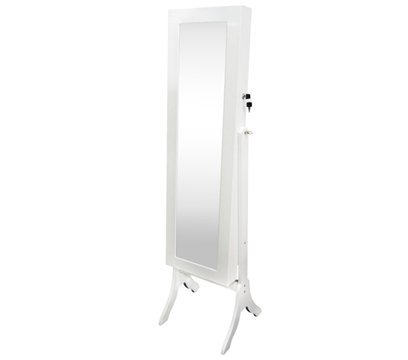 Full-Length Mirror Jewelry Stand - White Tall with Ribbon