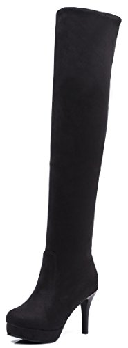 Stretchy On The Black Sexy Platform Shoes Pull Round Slim Boots Stiletto Toe Aisun Dressy Over Womens Knee High Heel xXqU6Xt