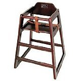 Winco CHH-103 Unassembled Wooden High Chair, - Mahogany High Chair
