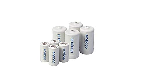 Eneloop Spacers 4 C Size Spacers & 4 D Size Spacers for Use with Ni-MH Rechargeable AA Battery...