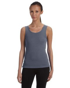 (Bella Ladies Wide straps Self - binding on Neck and Armholes Rib Tank - Deep Heather - Medium)