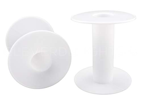 "40 Pack - CleverDelights 3"" White Plastic Spools - Empty Spools - Crafts Thread Cord Wire Rope Chain Roll"