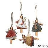 Lot of 12 Dancing Tin Angels Christmas Tree Ornaments