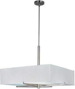 ET2 E95448-100SN Elements 4-Light Single Pendant, Satin Nickel Finish, Glass, GU24 Fluorescent Bulb, Dry Safety Rated, 2900K Color Temp., Standard Dimmable, Natural Fiber Shade Material, 800 Rated Lumens