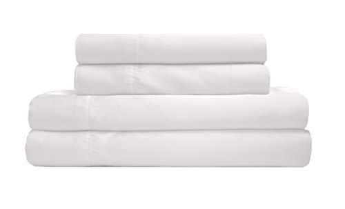 TORREY LANE 100% Luxury Satin Polyester Sheet Set, White, Full