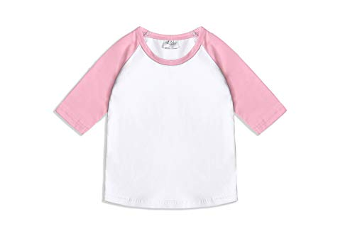 (CloudCreator Toddler Baby Girls Boys 3/4 Sleeve Shirts Raglan Shirt Baseball Tee Cotton T-Shirt (Pink&White, 3 Years))