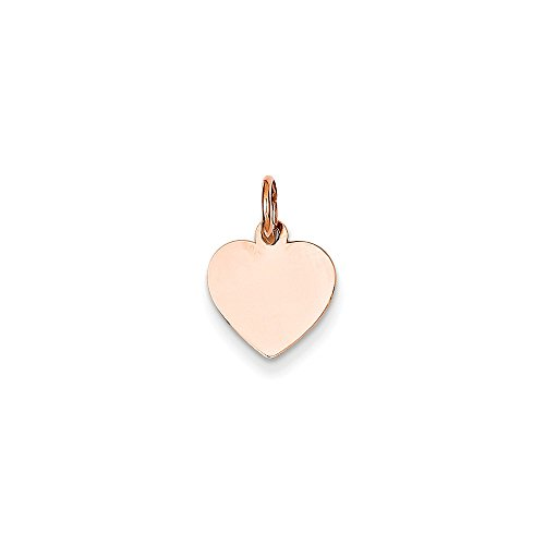 14k Rose Gold Solid Polished Engravable Heart Disc Charm - Measures 10.6x15.5mm