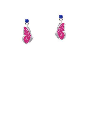 Translucent Hot Pink Flying Butterfly Blue Crystal Post (Blue Enamel Butterfly Post Earrings)