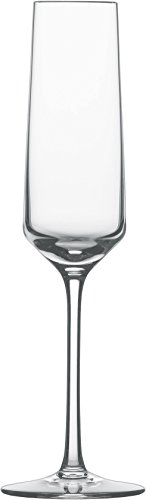 Tall Champagne Flute - Schott Zwiesel Tritan Crystal Glass Stemware Pure Collection Champagne Flute with Effervescence Points, 7.1-Ounce, Set of 2
