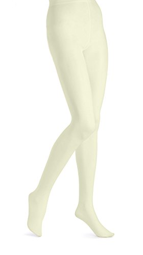 - EMEM Apparel Women's Ladies Plus Size Queen Opaque Footed Tights Fashion Hosiery Stockings Ivory 2X
