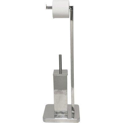 EVIDECO Stainless Steel Square Bowl Brush and Toilet Tissue Roll Dispenser, Silver/Chrome