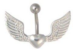 Body Accentz Belly Button Ring Heart Angel Wings Body Jewelry 14 Gauge