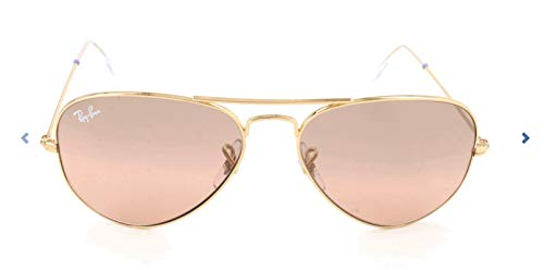 Ray-Ban RB3025 Aviator Sunglasses, Gold/Pink Mirror Gradient, 58 mm (Pink Ray Ban Aviators)