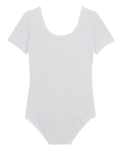 (DanceNwear Adult Cotton Blend Short Sleeve Leotard (2X, White))