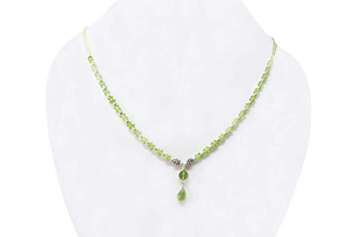 Green Peridot Beads Necklace Strand with Sterling Silver findings 16