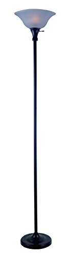 (Park Madison LightingPMF-9171-31 150 Watt Incandescent Torchiere Floor Lamp, 72 inches High in Black Finish with Frosted Shade, Transitional Design)