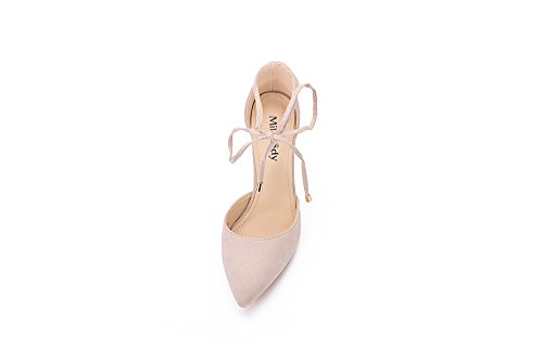 Classic Lady Elegance fl Beryl Nude D'orsay Platform Mila 02 Toe Pointed Strappy Heels Lace Ankle Chunky aRdI1qxCw
