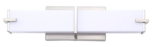Cloudy Bay LED Bathroom Vanity Light,18 inch 4000K Cool White,15W Dimmable Wall Lamp,Brushed Nickel Square Bathroom Vanity Light