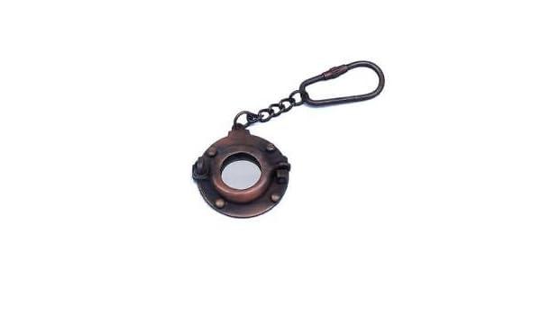 Latón ojo de buey espejo llavero náutico acabado en cobre ...