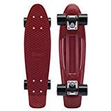 """This board takes the Penny Original Classics to new heights with one of our most popular deck colours combined with colour coordinated detail, right down the bearings and cushions! The Penny Burgundy 22"""" Skateboard is the epitome of cool for ..."""