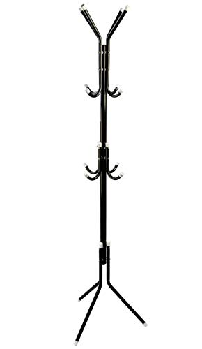 TeqHome Metal Standing Coat Rack 12 Hooks Hat Hanger for Clothes Hats Scarves (Black)