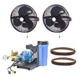 HIGH PRESSURE 1000psi - 18'' 2 Fan Wall Mount Mist Kits unenclosed pump