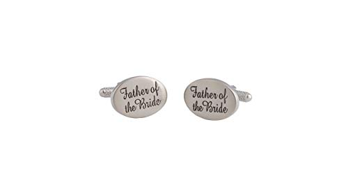 Amytong Engraved Cufflink, Father of The Bride Cufflink, Brass Plated White Steel, Europe Funky Cufflink by Amytong