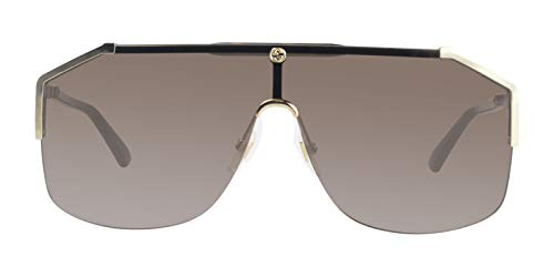 (GUCCI 0291 SYLVIE Black Tortoise Shield Sunglasses Unisex)