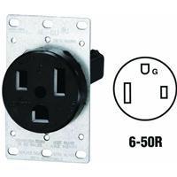 Leviton 5374 50 Amp, 250 Volt, Flush Mounting Receptacle, Straight Blade, Industrial Grade, Grounding, Black
