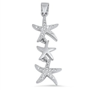 Pendentif Collier Femme 925 Argent Fin Oxyde De Zirconium Tripler Étoile De Mer (Livré Avec Une Chaîne De 45 Cm)
