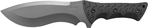 Schrade SCHF28 Little Ricky 14.1in S.S. Full Tang Knife with 7.9in Drop Point Recurve Blade and TPE Handle for Outdoor Survival, Camping and Bushcraft (Schrade Schf9 Extreme Survival Knife With Fixed 1095)