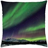 beautiful northern lights over alskan winter landscape - Throw Pillow Cover Case (18