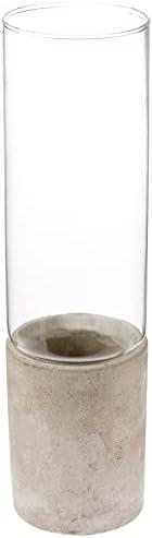 Vaso Em Vidro E Cimento, 7x7x25.5 cm, Mart
